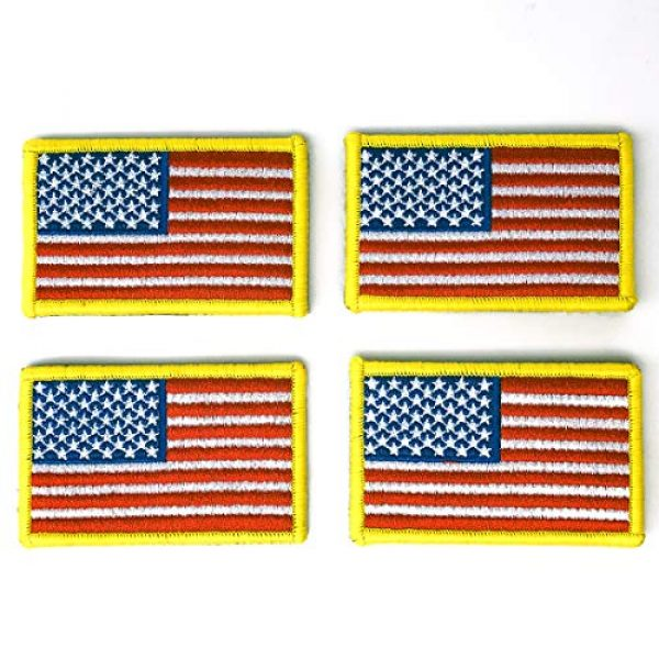EtherealKiller Airsoft Morale Patch 1 American Flag Velcro Patches, 4pcs Gold Border US Flag Hook and Loop Emblems for Backpacks, Caps, Hats, Jackets, Pants