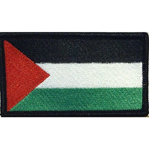 Fast Service Designs Airsoft Morale Patch 1 Palestine Flag Embroidered Patch with Hook & Loop Patriotic MC Biker Morale Emblem. Black Border #13