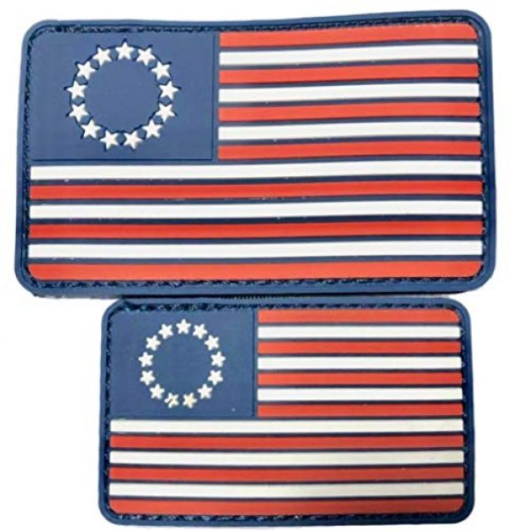 Diezel Pet Products Airsoft Morale Patch 1 American Flag Morale Patch Two Pack - PVC Rubber Patches Show United States Pride Hook Loop RED White Blue OR Thin Blue LINE 2 X 3 INCH Plus Small 1.5 X 2.5 INCH Sizes (13STRS)