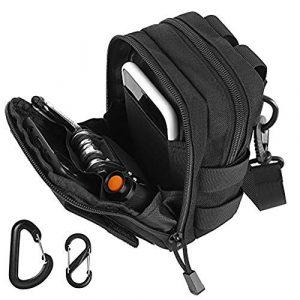 FUNANASUN Tactical Pouch 1 FUNANASUN Tactical Molle Pouch, Tactical Waist Bag EDC Molle Belt Waist Pouches Small Utility Gadget Gear Tool Bag Black