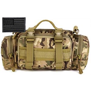 Protector Plus Tactical Pouch 1 Protector Plus Tactical Fanny Pack Military Assault Waist Bag Hip Belt MOLLE Sling Army Lumbar Gear Pouch EDC Camera Handlebar Range Bags (Patch Included)