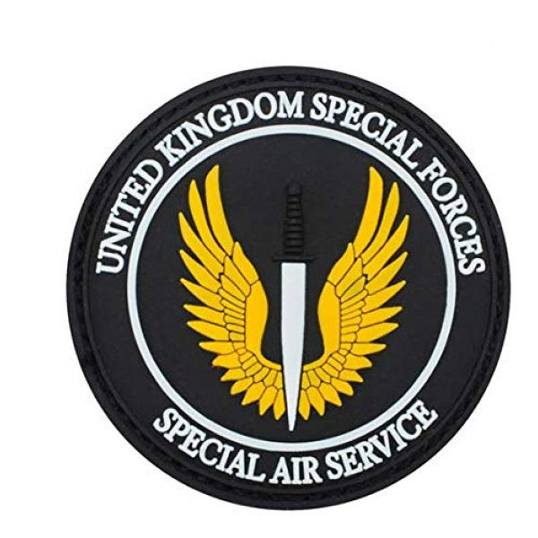 Tactical PVC Patch Airsoft Morale Patch 1 Special Air Service UK British SAS PVC Military Tactical Morale Patch Badges Emblem Applique Hook Patches for Clothes Backpack Accessories