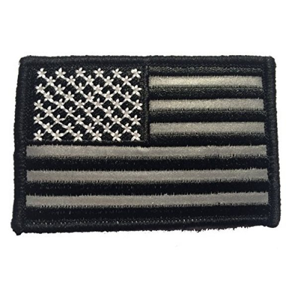 Empire Tactical USA Airsoft Morale Patch 3 American Made Reflective hook/loop Black and White American Flag Embroidered Morale baseball cap hat Patch, 3x2 In