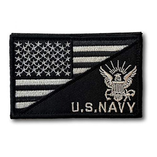 """Backwoods Barnaby Airsoft Morale Patch 1 Backwoods Barnaby U.S. Navy/American Flag USA Military Morale Tactical Patch with Hook & Loop (2"""" x 3"""")"""