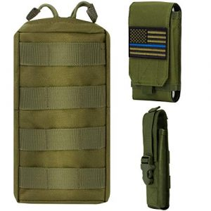IronSeals Tactical Pouch 1 IronSeals AQ Molle Pouch & Tactical Flashlight Pouch Holster & Cellphone Holster with Flag Patch