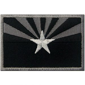 EmbTao Airsoft Morale Patch 1 Arizona State Flag Embroidered Tactical Emblem Iron On Sew On AZ Patch - Black