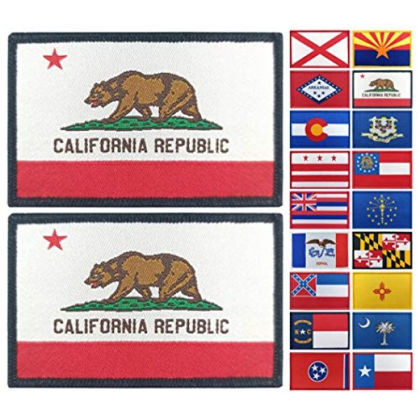 JBCD Airsoft Morale Patch 1 JBCD 2 Pack California Flag Patch States Flags Tactical Patch Pride Flag Patch for Clothes Hat Patch Team Military Patch