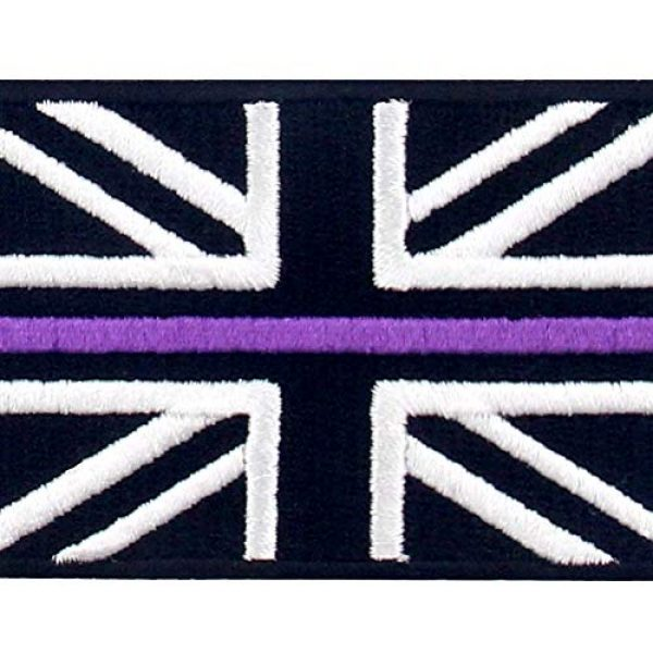 EmbTao Airsoft Morale Patch 2 EmbTao Tactical Thin Purple Line UK Flag British Union Jack Patch Embroidered Morale Applique Iron On Sew On Emblem