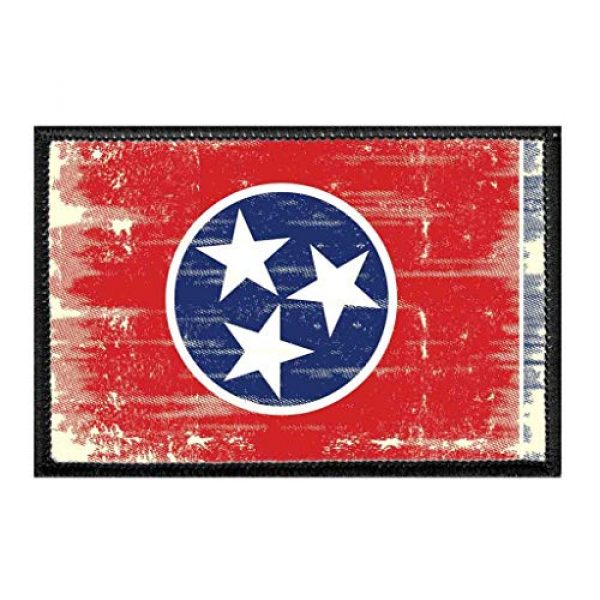 P PULLPATCH Airsoft Morale Patch 1 Tennessee State Flag - Color - Distressed Morale Patch   Hook and Loop Attach for Hats, Jeans, Vest, Coat   2x3 in   by Pull Patch