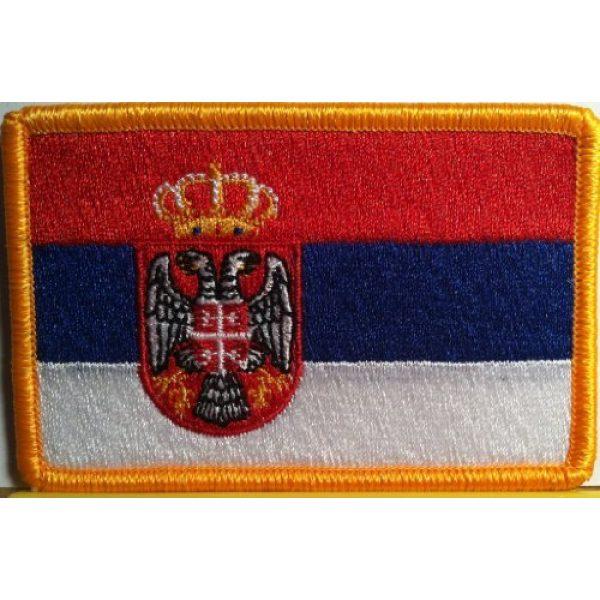 Fast Service Designs Airsoft Morale Patch 1 Serbia Flag Embroidered Patch with Hook & Loop Travel Morale Patriotic MC Biker Shoulder Gold Border Serbian Emblem #1