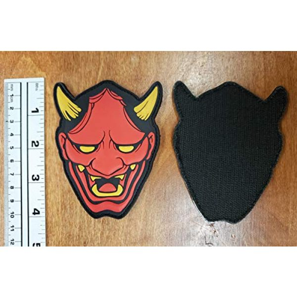 """Generic Airsoft Morale Patch 3 Generic PVC Red Hannya Mask Morale Tactical Patch with Hook and Loop backing, 4"""" tall"""