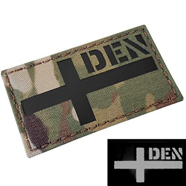 Tactical Freaky Airsoft Morale Patch 3 IR Multicam Denmark Danmark Flag 2x3.5 IFF Infrared Tactical Morale Fastener Patch