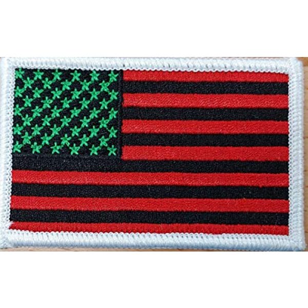 Fast Service Designs Airsoft Morale Patch 2 United States USA Flag Embroidered Iron-On Sew Patch MC Biker Morale Tactical Shoulder Black, Red & Green Version Pan African Emblem White Border #6