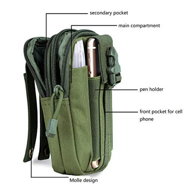 Goodforalllilewen Tactical Pouch 3 Goodforalllilewen Tactical Waist Pack,Molle Pouch with Zipper,Pouch for Belt,Fanny Pack Pocket for Sports Travel Hiking Running Cycling Camping,Backpack Accessories Adjustable for Men and Women