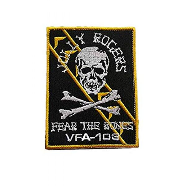 """Embroidery Patch Airsoft Morale Patch 1 VFA-103 Jolly Rogers""""Fear The Bones"""" Squadron Military Hook Loop Tactics Morale Embroidered Patch"""