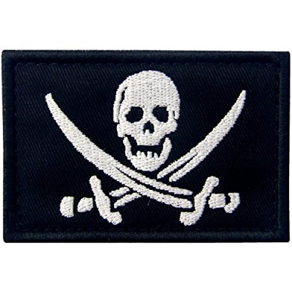 EmbTao Airsoft Morale Patch 1 Pirate Flag Military Morale Fastener Hook & Loop Patch - White & Black