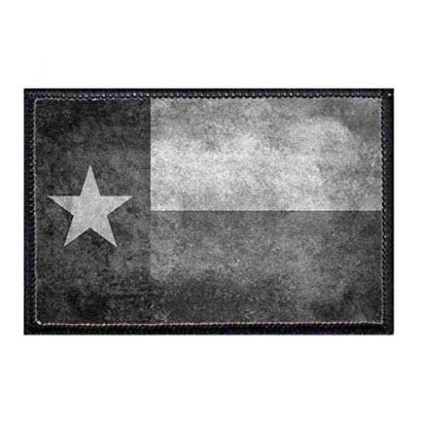 P PULLPATCH Airsoft Morale Patch 1 Texas State Flag - Distressed - Black/White Morale Patch   Hook and Loop Attach for Hats, Jeans, Vest, Coat   2x3 in   by Pull Patch