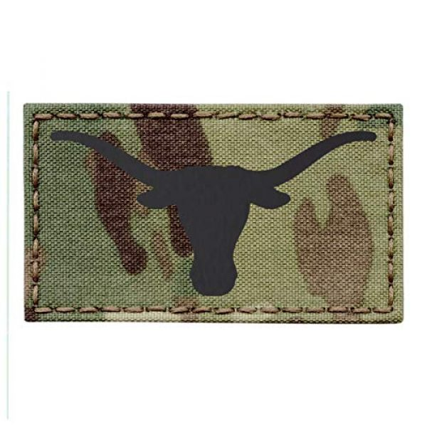 Tactical Freaky Airsoft Morale Patch 1 Texas Longhorn Multicam Infrared IR 3.5x2 IFF Tactical Morale Fastener Patch