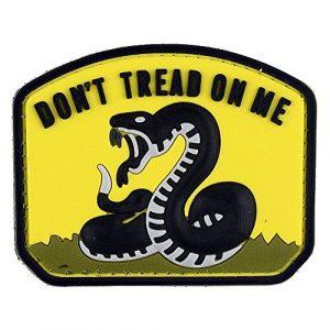 LIVABIT Airsoft Morale Patch 1 LIVABIT PVC Rubber 3D Morale Patch MP-20 Tactical Airsoft Paintball Don't Tread On Me Snake Black Yellow