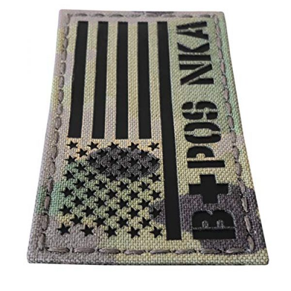 Tactical Freaky Airsoft Morale Patch 2 IR Multicam USA Flag BPOS B+ Blood Type NKA NKDA Infrared Tactical Morale Fastener Patch