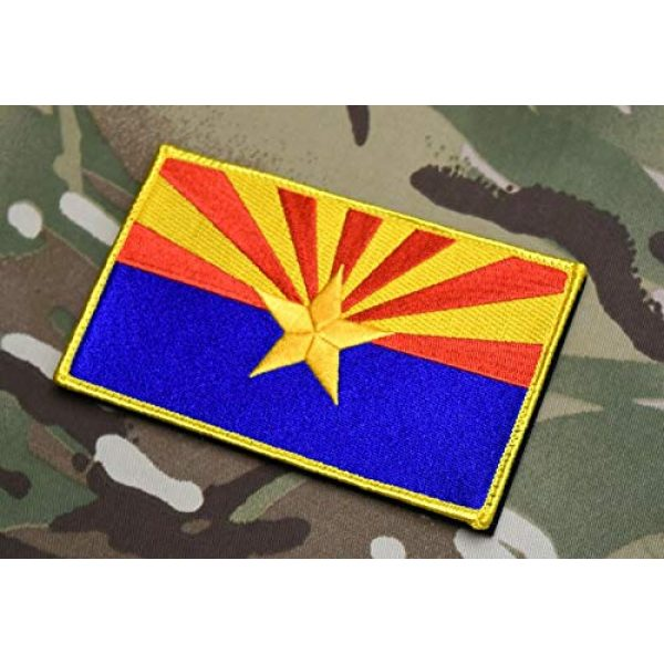 "BritKitUSA Airsoft Morale Patch 1 BritKitUSA Large 3""x5"" Arizona State Flag Morale Patch Grand Canyon State AZ Ditat Deus Hook & Loop Backing"