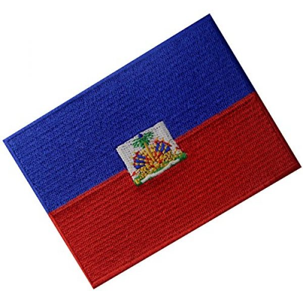 EmbTao Airsoft Morale Patch 3 Haiti Flag Embroidered Patch Haitian Iron On Sew On National Emblem