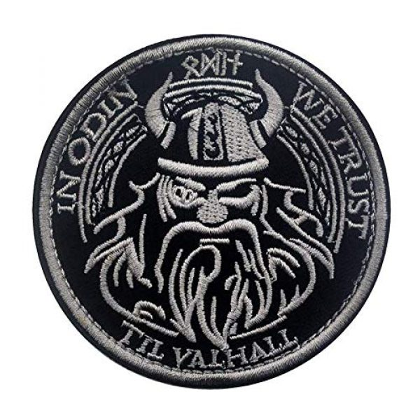 Kseen Airsoft Morale Patch 1 Viking God Embroidered Tactical Military Patch in Odin We Trust Valhalla Morale Armband Badge Emblem Applique with Hook and Loop Round Decorative Patches (White)