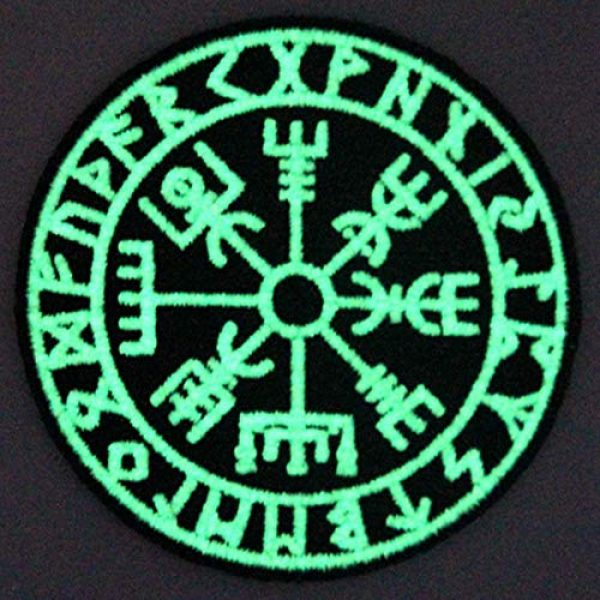 EmbTao Airsoft Morale Patch 3 EmbTao Glow in Dark Vegvisir Viking Compass Norse Rune Morale Tactical Embroidered Applique Fastener Hook&Loop Patch