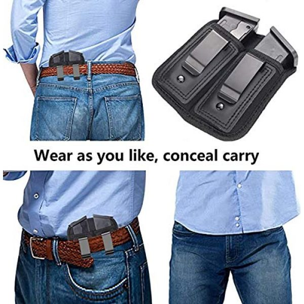 ACEXIER Tactical Pouch 7 ACEXIER Universal Double Magazine Pouch for 9mm .40 .45 .380 .357, IWB Mag Holster Concealed Cary for Double Stack, Mag Holder for Glock 19 43 17 1911 S&W M&P, IWB Clip Magazine Pouch IWB Pistol Ammo