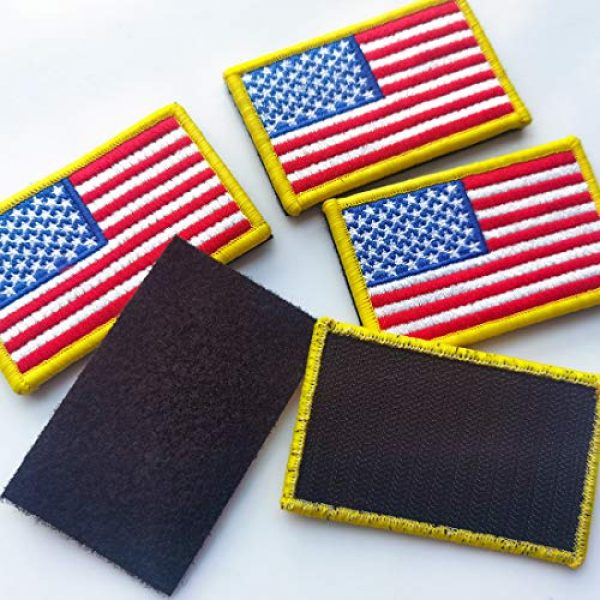 EtherealKiller Airsoft Morale Patch 3 American Flag Velcro Patches, 4pcs Gold Border US Flag Hook and Loop Emblems for Backpacks, Caps, Hats, Jackets, Pants