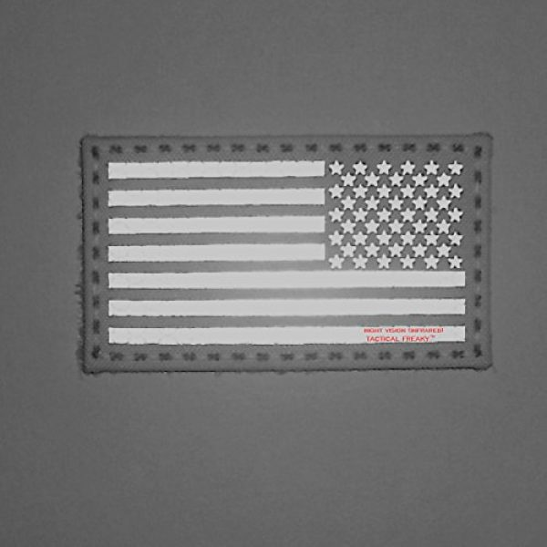 Tactical Freaky Airsoft Morale Patch 2 Wolf Gray 2x3.5 IR USA American Reversed Flag Infrared Stars and Stripes IFF Tactical Morale Fastener Patch