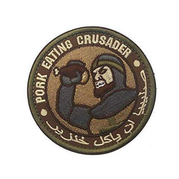 Embroidery Patch Airsoft Morale Patch 2 Pork Eating Crusader Military Hook Loop Tactics Morale Embroidered Patch (color1)