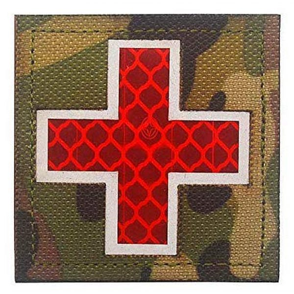 Embroidery Patch Airsoft Morale Patch 1 Cross Medical Rescue Reflective Patch Military Hook Loop Tactics Morale Patch
