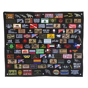 LanXin Airsoft Morale Patch 1 Tactical Military Combat Morale Patch Holder Panel Wall Display Board Patch Hang Display Poster Frame Hook and Loop Backing Patch Board (43.3 x 27.5 inch)