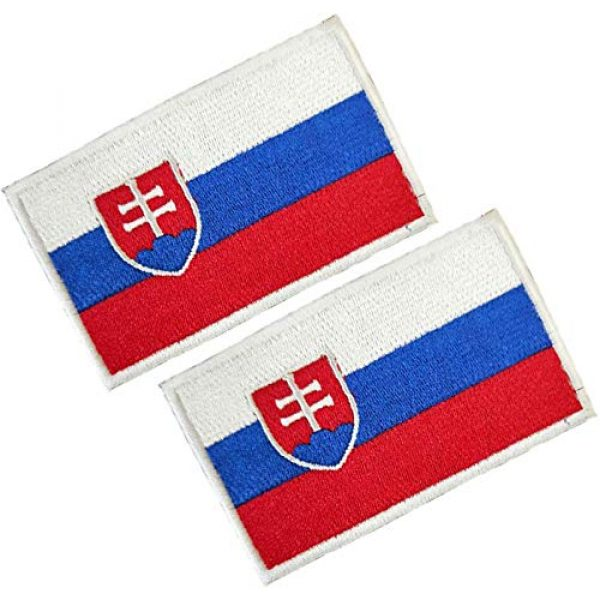 HFDA Airsoft Morale Patch 1 HFDA 2 Piece Different Country Flags Patch - Tactical Combat Military Hook and Loop Badge Embroidered Morale Patch (Slovakia)