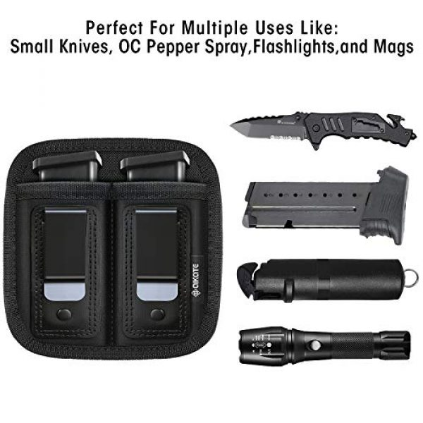 AIKATE Tactical Pouch 2 Universal Double Magazine Pouch for 9mm .40 .45 .380 .357, IWB Mag Holster Concealed Cary for Double Stack, Mag Holder for Glock 19 43 17 1911 S&W M&P, Fits Any 7 10 15 Round Clip for All Pistols Ammo