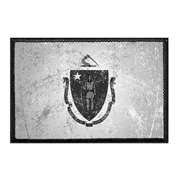 P PULLPATCH Airsoft Morale Patch 1 Massachusetts State Flag - Black and White - Distressed Morale Patch | Hook and Loop Attach for Hats, Jeans, Vest, Coat | 2x3 in | by Pull Patch