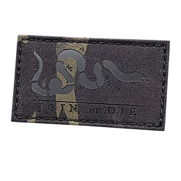 Tactical Freaky Airsoft Morale Patch 1 Multicam Black IR Join Or Die 2x3.5 Snake Cartoon Benjamin Franklin US Independence Tactical Morale Hook-and-Loop Patch