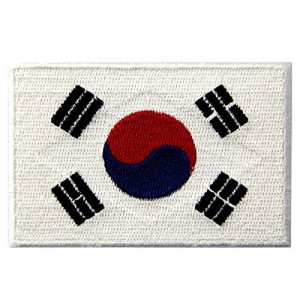 EmbTao Airsoft Morale Patch 1 South Korea Flag Embroidered Korean National Emblem Iron On Sew On Patch
