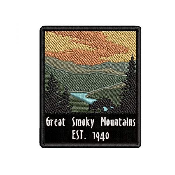Appalachian Spirit Airsoft Morale Patch 1 Great Smoky Mountains Est. 1940 Black Bear Sunrise Scene Embroidered Premium Patch DIY Iron-on or Sew-on Decorative Badge Emblem Vacation Souvenir Travel Gear Clothes Appliques