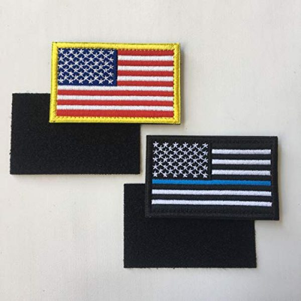 XUNQIAN Airsoft Morale Patch 3 Bundle 6 Pieces Full Color USA American Thin Blue Line Police Flag Three Percenter Tactical Don't Tread On Me Fully Embroidered Morale Tags Patch Set for Caps,Bags,Backpacks (A-6 Pieces Flag)