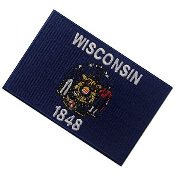 EmbTao Airsoft Morale Patch 4 Wisconsin State Flag Embroidered Emblem Iron On Sew On WI Patch