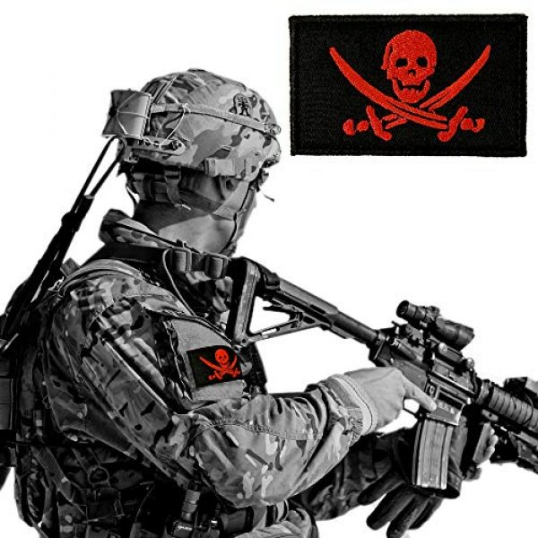 JumpyFire Airsoft Morale Patch 6 JumpyFire Skull Pirate Velcro Patch, 2 PCS Fully 3D Embroidered Military Morale Patches for Backpack Hat Jacket Jeans Uniform