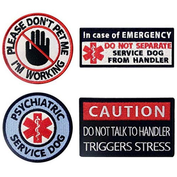 TailWag Planet Airsoft Morale Patch 1 Service Dog Do Not Pet Separate from Handler Triggers Stress Psychiatric Medic Paramedic Star of Life Vest/Harnesses Tactical Morale Patch Embroidered Badge Fastener Hook & Loop Emblem, 4 Pcs