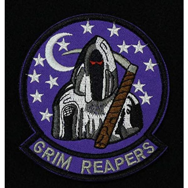Embroidered Patch Airsoft Morale Patch 1 Black Ops Area 51 4451st Grim Reapers Stealth Fighter 3D Tactical Patch Military Embroidered Morale Tags Badge Embroidered Patch DIY Applique Shoulder Patch Embroidery Gift Patch