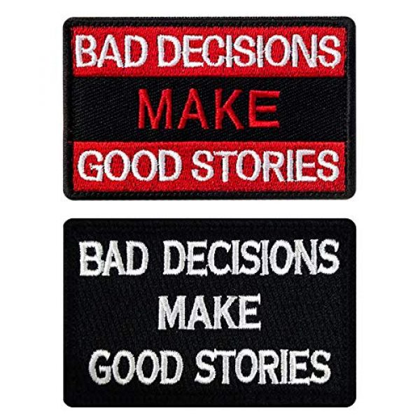Ebateck Airsoft Morale Patch 1 Ebateck Bad Decisions Make Good Stories Patch, 2 Pack, Embroidered Morale Patches Tactical Funny for Hat Backpack Jackets (Applique Fastener Hook - Loop), Red & Black Color