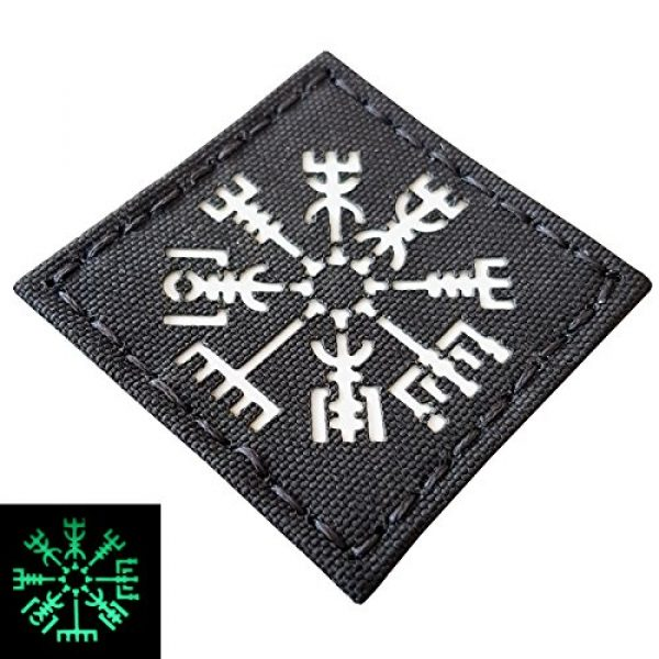 Tactical Freaky Airsoft Morale Patch 3 Glow Dark Vegvisir Viking Norse 2x2 GITD Tactical Morale Fastener Patch