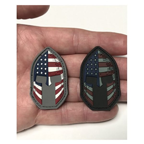 Active Duty Gear Airsoft Morale Patch 4 Spartan Helmet (Molon Labe) 3D PVC Rubber USA Flag Morale Patch, Represent American Pride, Perfect for Tactical Operator Caps, Hats, Jackets, Bags, Packs and Military Apparel (Full Color)