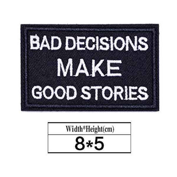 ZHDTW Airsoft Morale Patch 2 ZHDTW Tactical Morale Decorative Patches Letter with Hook Loop Bad Decision Makes Good Stories (DT044)