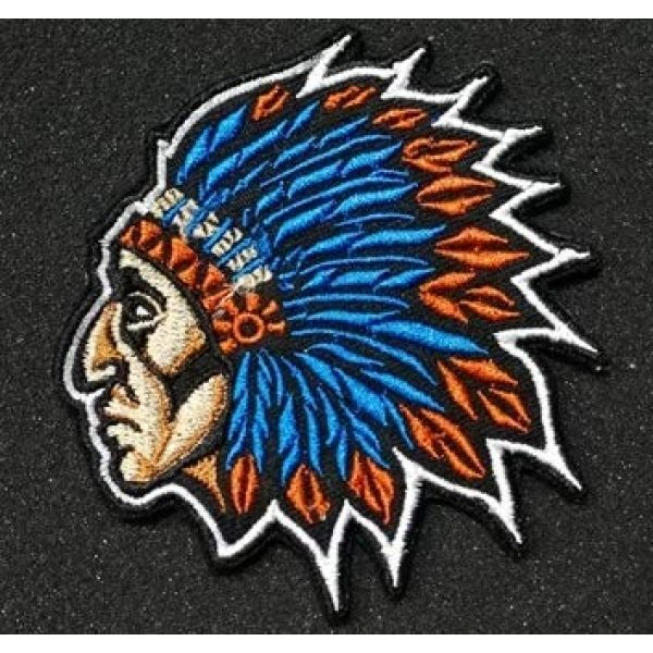 Tactical Embroidery Patch Airsoft Morale Patch 1 Indian Chief Embroidery Patch Military Tactical Morale Patch Badges Emblem Applique Hook Patches for Clothes Backpack Accessories